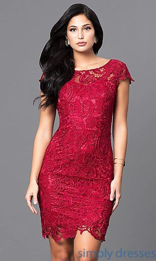 a55c3977e5cf Shop cap-sleeve floral-lace holiday dresses at Simply Dresses. Short semi- formal party dresses in misses and plus sizes with scoop necklines.