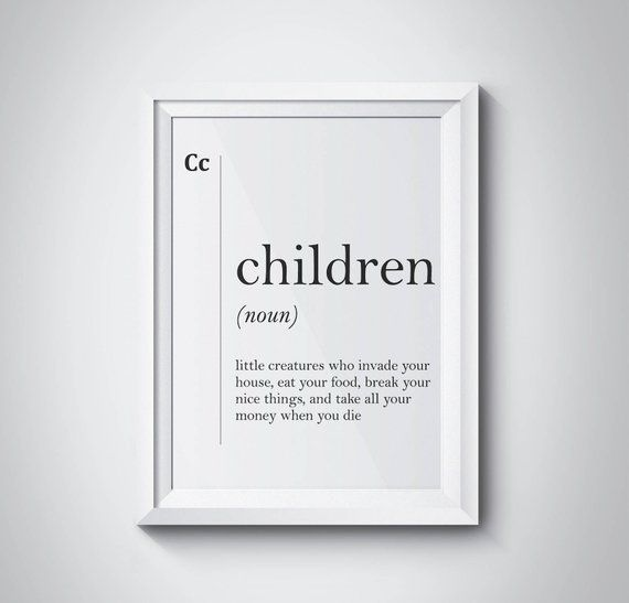 Children Definition Funny Family Print Family Wall Art Parents Gift Minimalist Art Children Print Mo