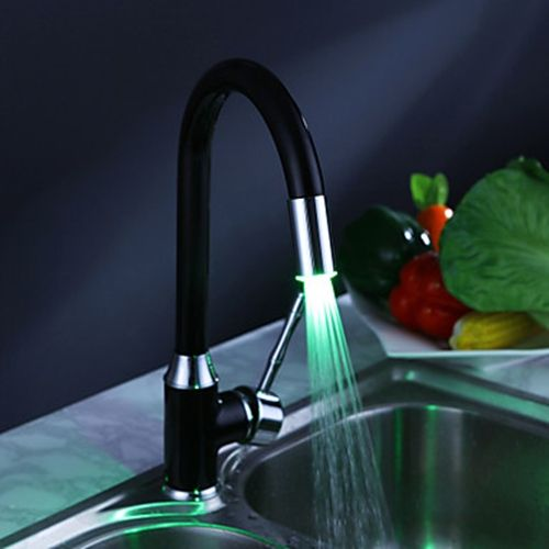 Painting Finish Kitchen Faucet With Color Changing Led Light