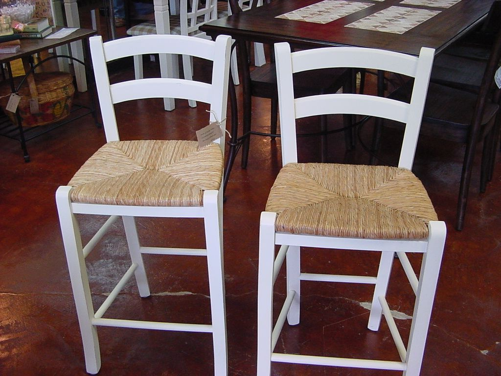 Pair Of RUSH SEAT BAR STOOLS In Lightly Distressed COTTAGE WHITE Wooden Bar Stools White Wood