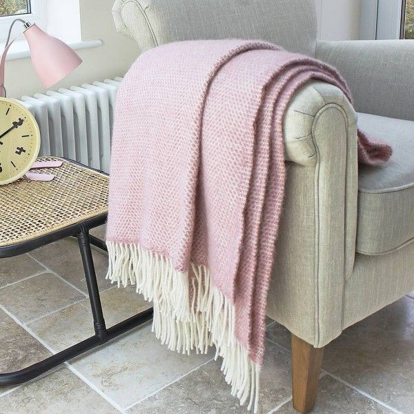 Marquis Dawe Blush Pink Wool Throw 40 Liked On Polyvore Beauteous Dusty Pink Throw Blanket