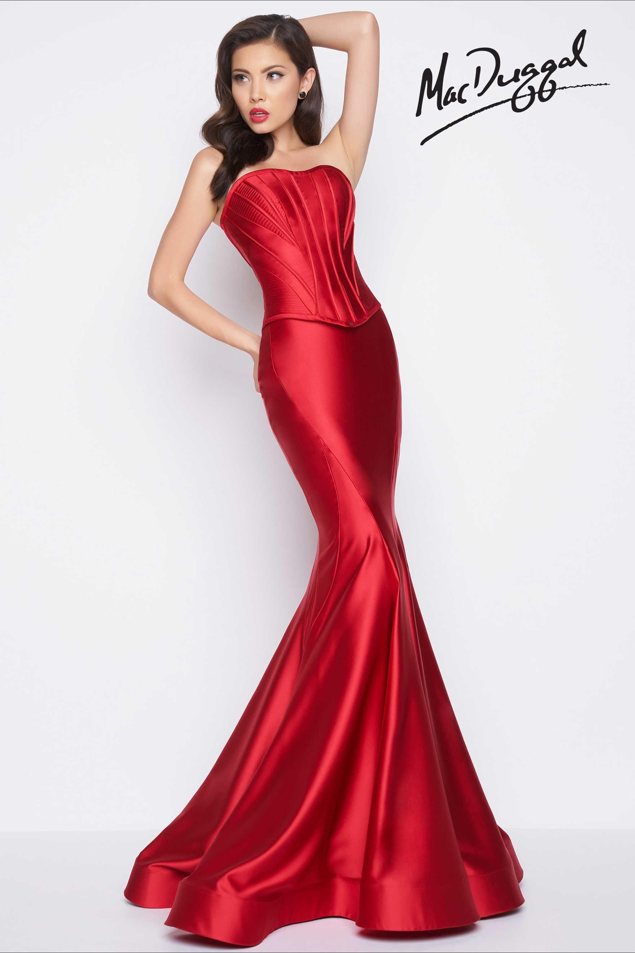 Red formal gown with mermaid skirt formalwear pinterest red