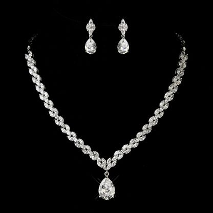 CZ Teardrop Necklace and Earring Wedding Jewelry Set  in silver plating.