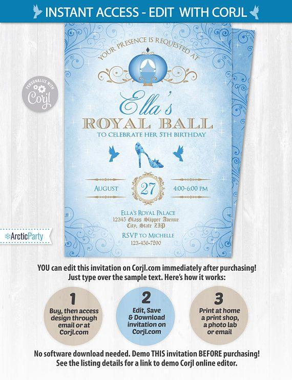 cinderella invitations cinderella birthday invitations