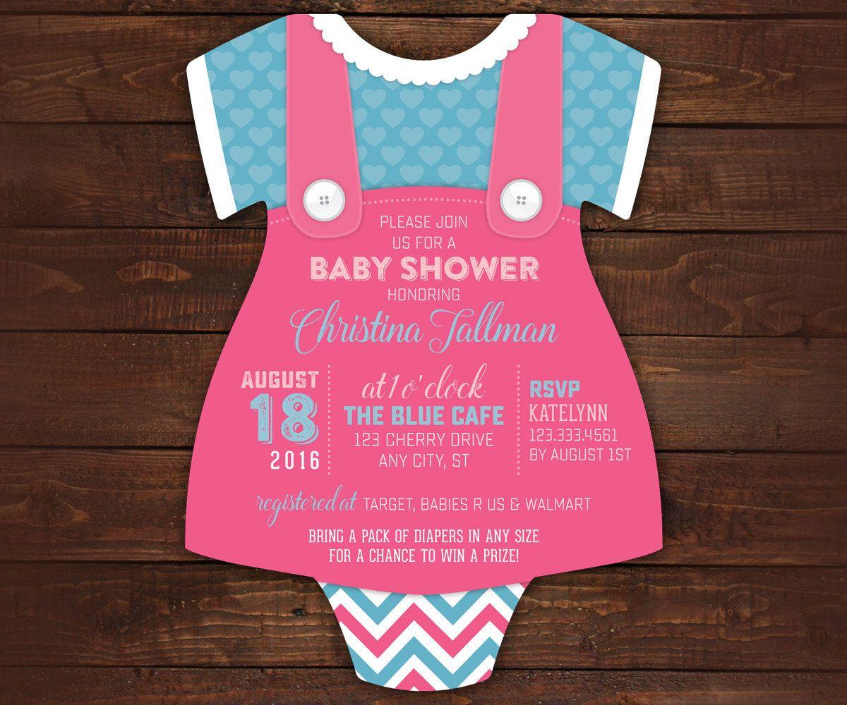 10 Vestido de mameluco del bebé ducha invitaciones en forma | baby ...