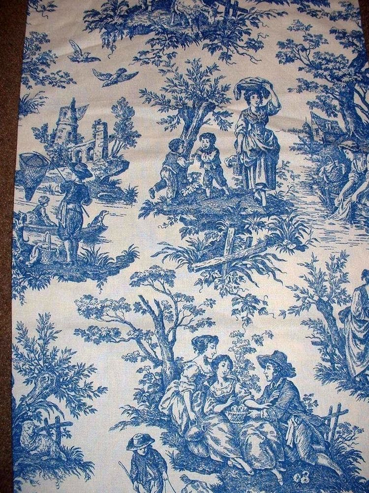 1 Yd Vintage Waverly Country Life Toile Blue Colorways Decor Curtain Fabric Fabric Decor Curtain Fabric