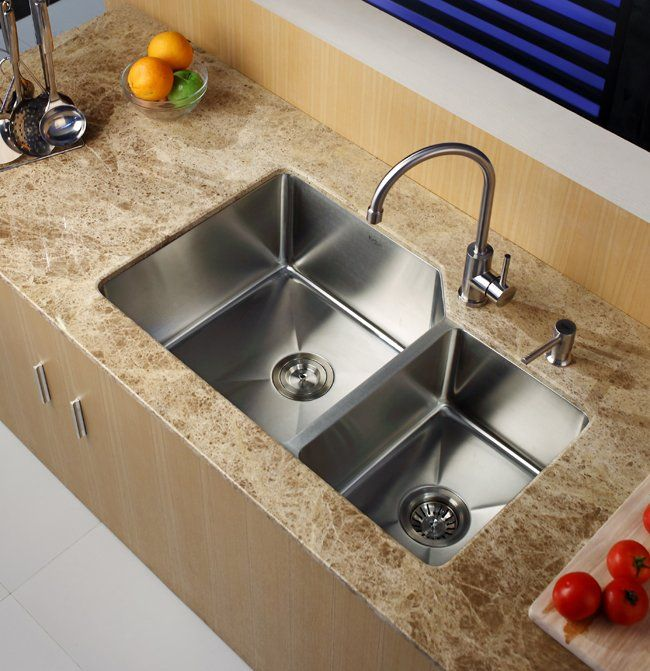 Kraus Khu123 32 Double Bowl Kitchen Sink Undermount Kitchen Sinks Stainless Steel Kitchen Sink