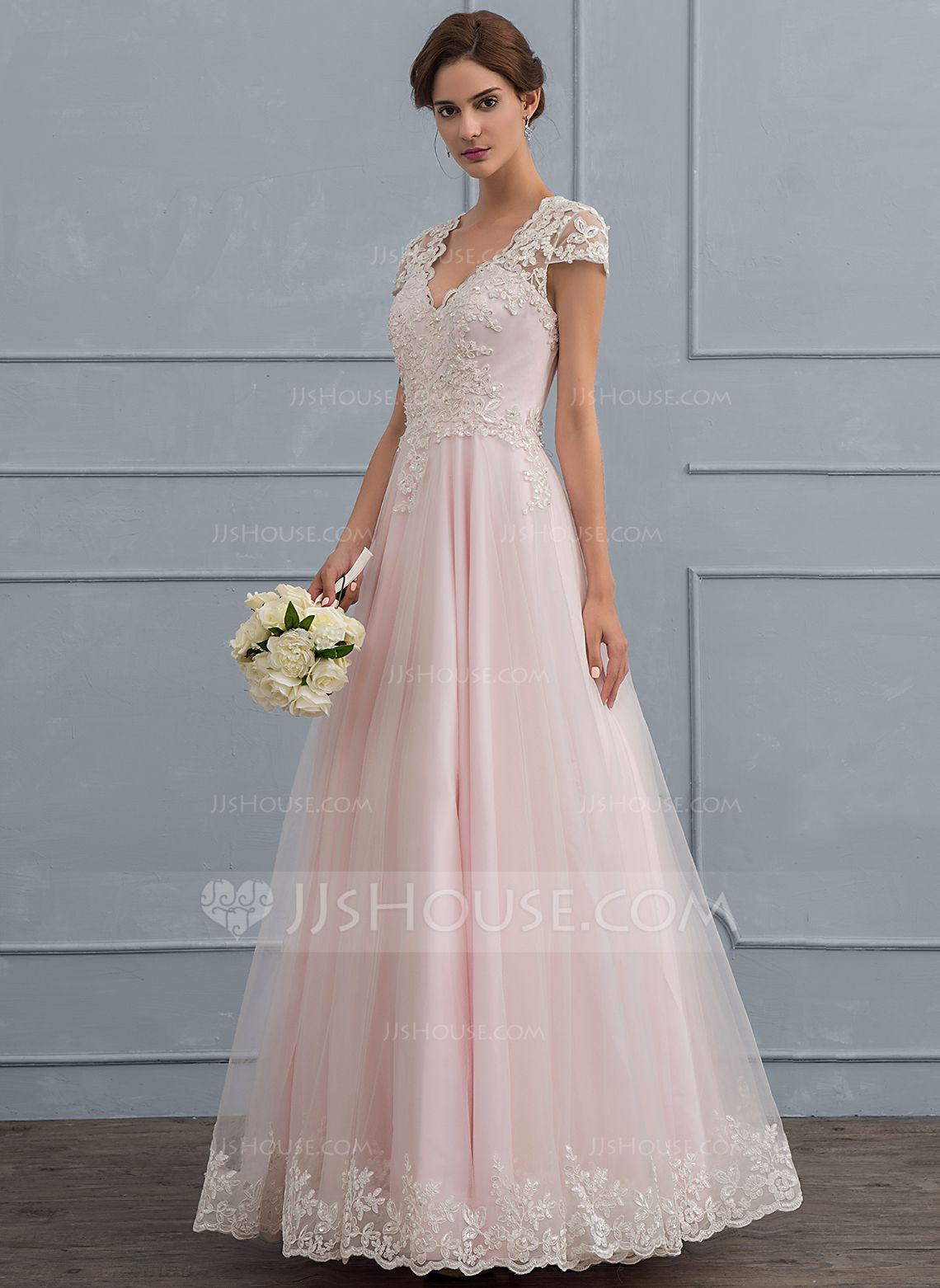 Us 188 00 Ball Gown Princess V Neck Floor Length Tulle Wedding Dress With Beading Sequins Jj S House Short Sleeve Wedding Dress Bow Wedding Dress Tulle Wedding Dress