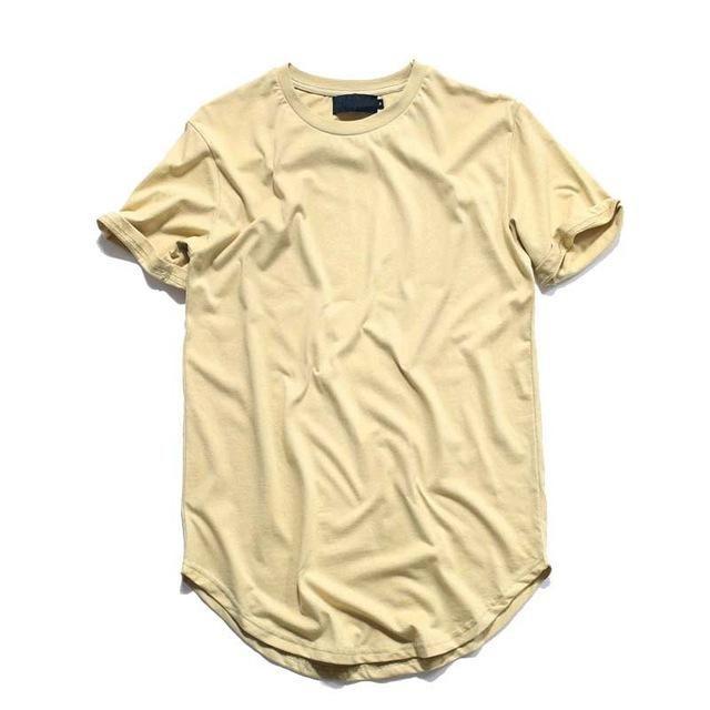 9518e6c8 Hip Hop T shirt Men Urban Extended Curved Hem T-shirt Plain Long ...