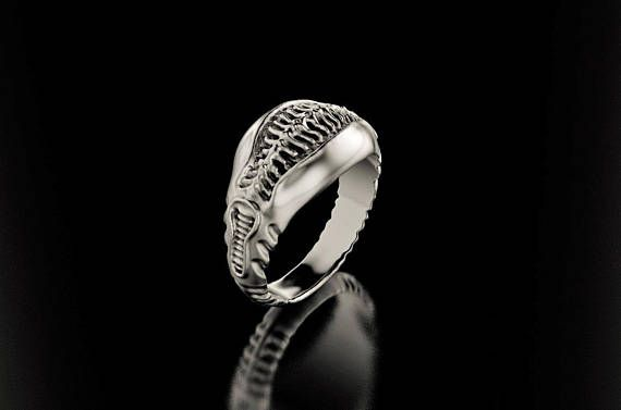 Unique sci fi wedding ring inspired by gigers alien materials