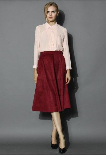 Faux Suede Midi Skirt in Berry | Full Closet= Happy Me | Pinterest
