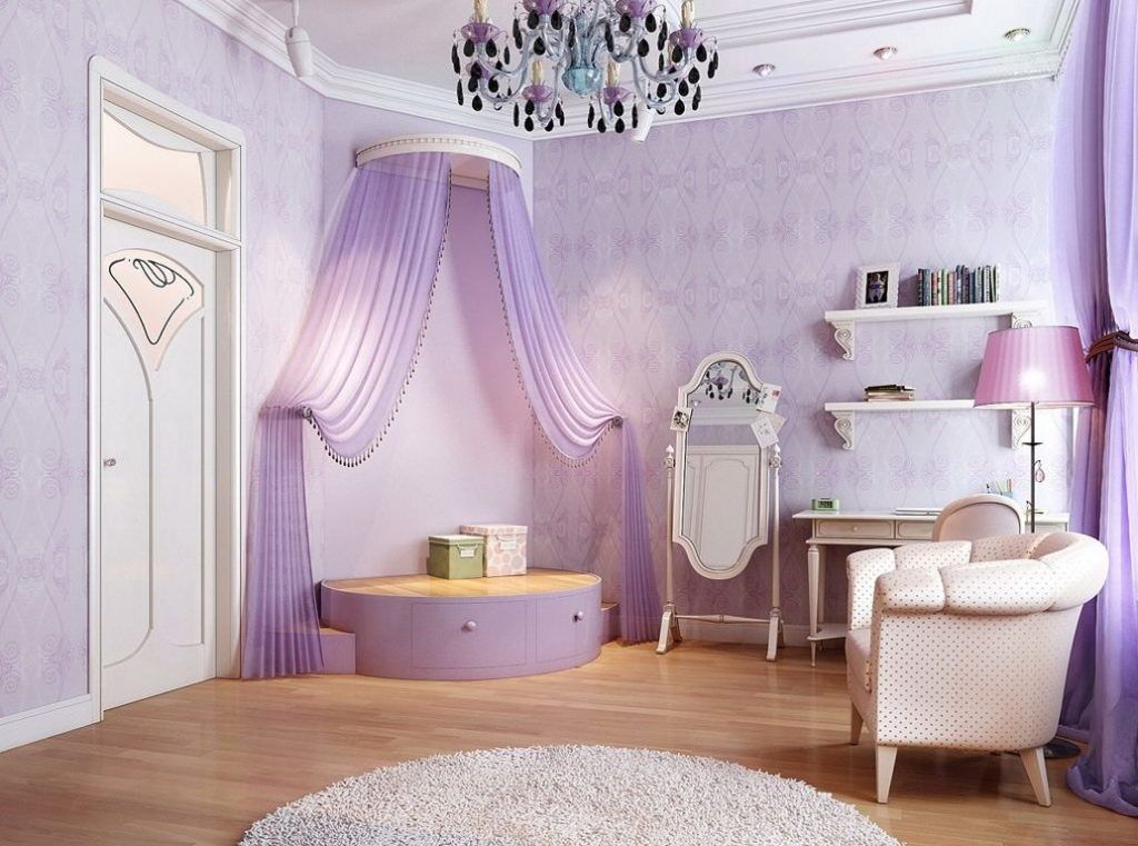 Kids Bedroom Purple kids bed rooms, awesome purple princess bedroom with corner stage