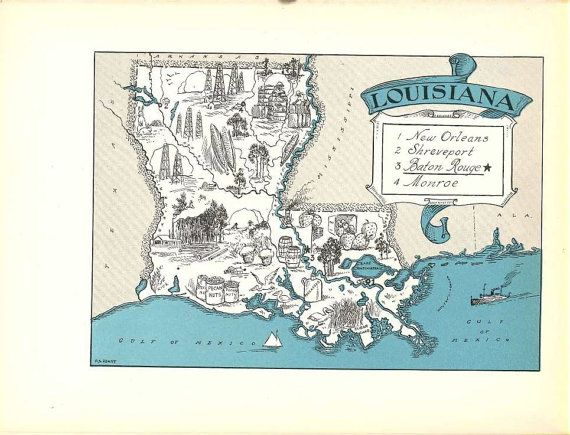 Louisiana Map Art LA State Wall Decor Vintage Map Print Quinn