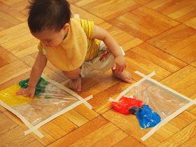 Pink Stripey Socks: Mess free toddler paint (using Ziploc bags)