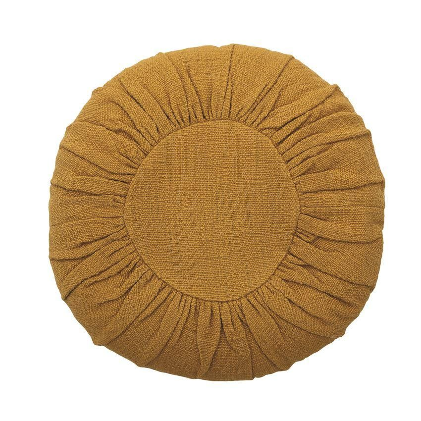 """18"""" Round Cotton Pillow, Mustard Color"""