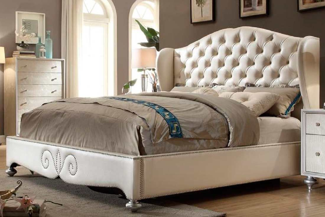 bedroom diamond tufted pearl bed mf classic on pearl white