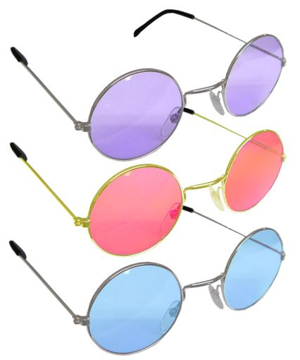 Hippy Round Sunglasses John Lennon Sunnies Metal Color Lens Vintage Retro 60/'s
