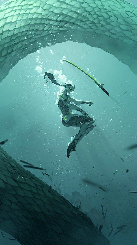 Genji in the ocean with his spirit dragon, #Overwatch Рекомендуем   Tumblr   Overwatch   Pinterest