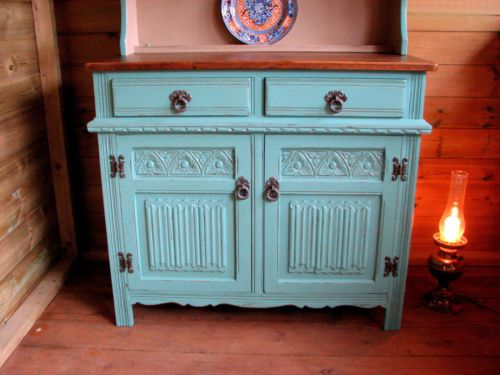 Vintage Ornate Dutch Dresser Sideboard Painted Shabby Chic