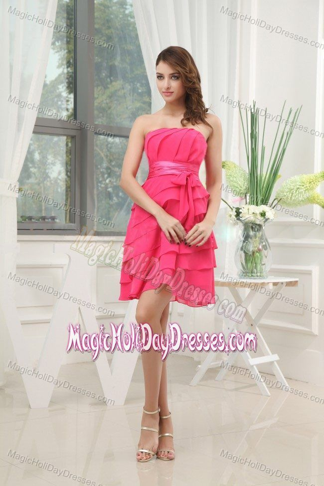 Cute Tiered Hot Pink Chiffon Short Valentine Holiday Dress in ...