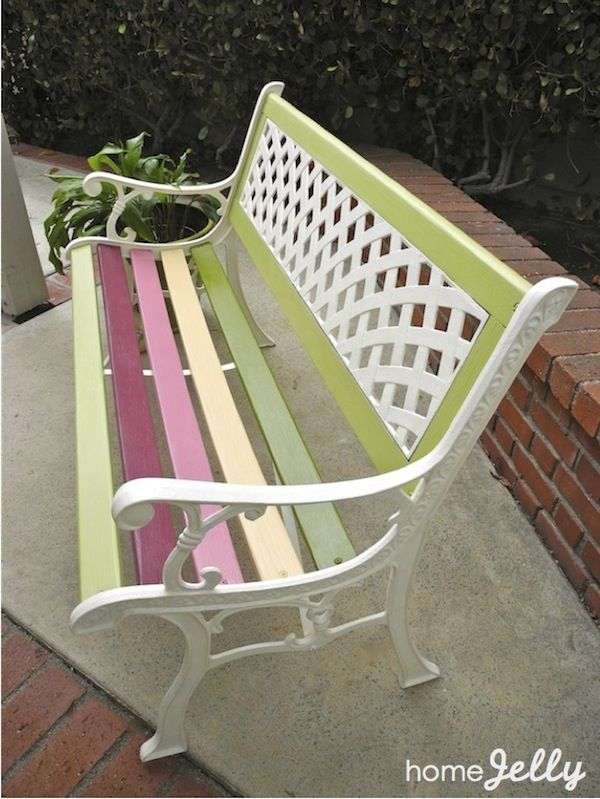 Painted park bench. I would like a colourful seat like this with a nice  quote engraved on it left in my memory after I die.