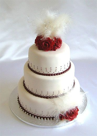 Burgundy Roses And Ivory Feathers Wedding Cake By Sugarlicious Ltd