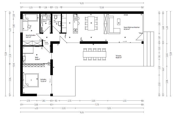 l haus grundriss grundriss haus grundriss minihaus. Black Bedroom Furniture Sets. Home Design Ideas