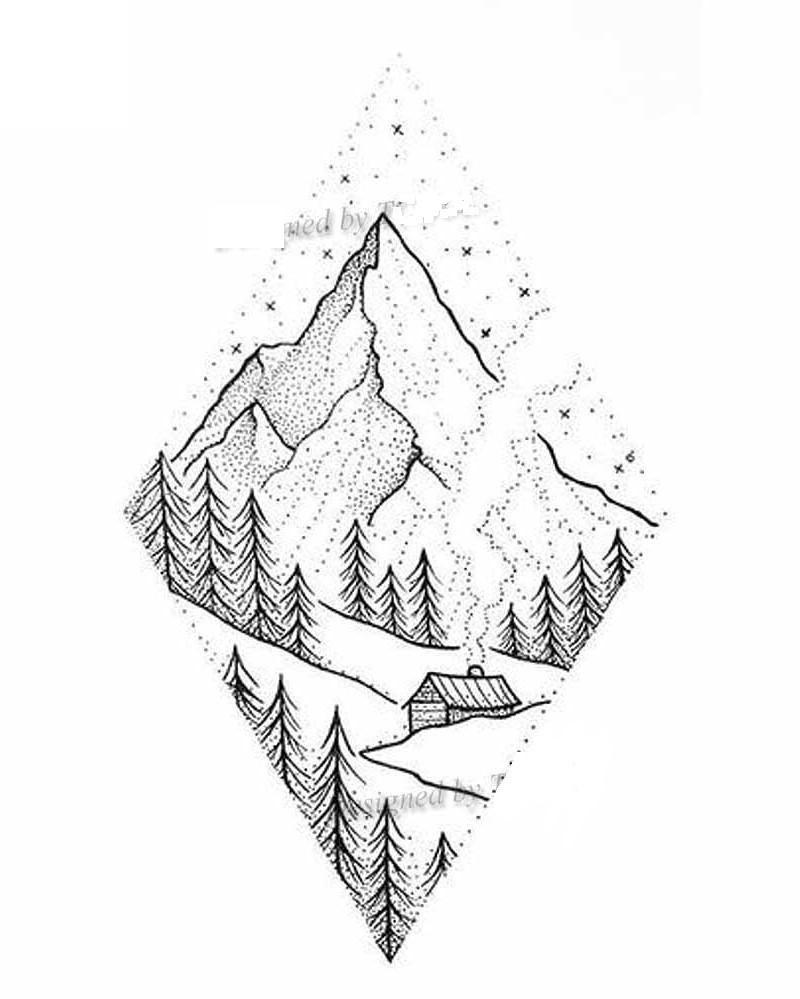 Mountains 60x98mm – Then & When – tattoo art, temporary tattoo, arm tattoo, back tattoo, temporary tattoo, temporary tattoo, women tattoo, man tattoo, …