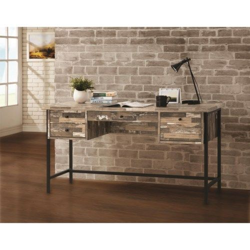 Rustic Style Writing Desk with Drawers Coaster Furniture Speedy