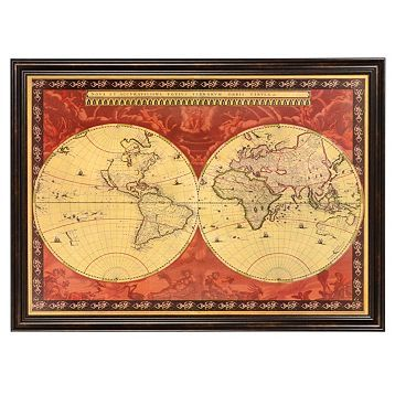 Red old world map framed art print map frame wall decor and old world map framed art print kirklands gumiabroncs Image collections