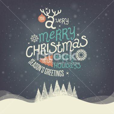 Greeting Card. Merry Christmas lettering Ilustraciones vectoriales sin derechos de autor