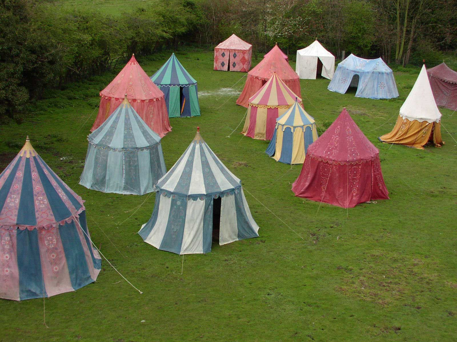over 30 ornate and panel tents of assorted colours are available