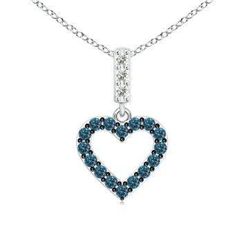 Angara Round Enhanced Blue and White Diamond Halo Pendant lLxruOfJu