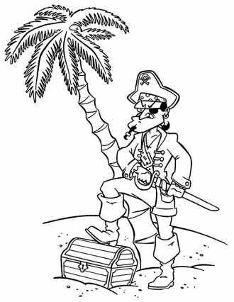 пират с сундуком раскраска для мальчиков бесплатно ...