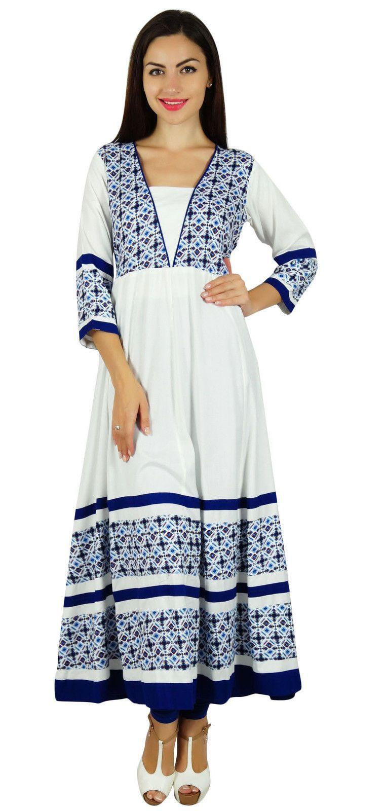 61b3dc4baff5d3 Bimba Women White Rayon Anarkali Designer Kurta Kurti Casual Tunic 3/4  Sleeve