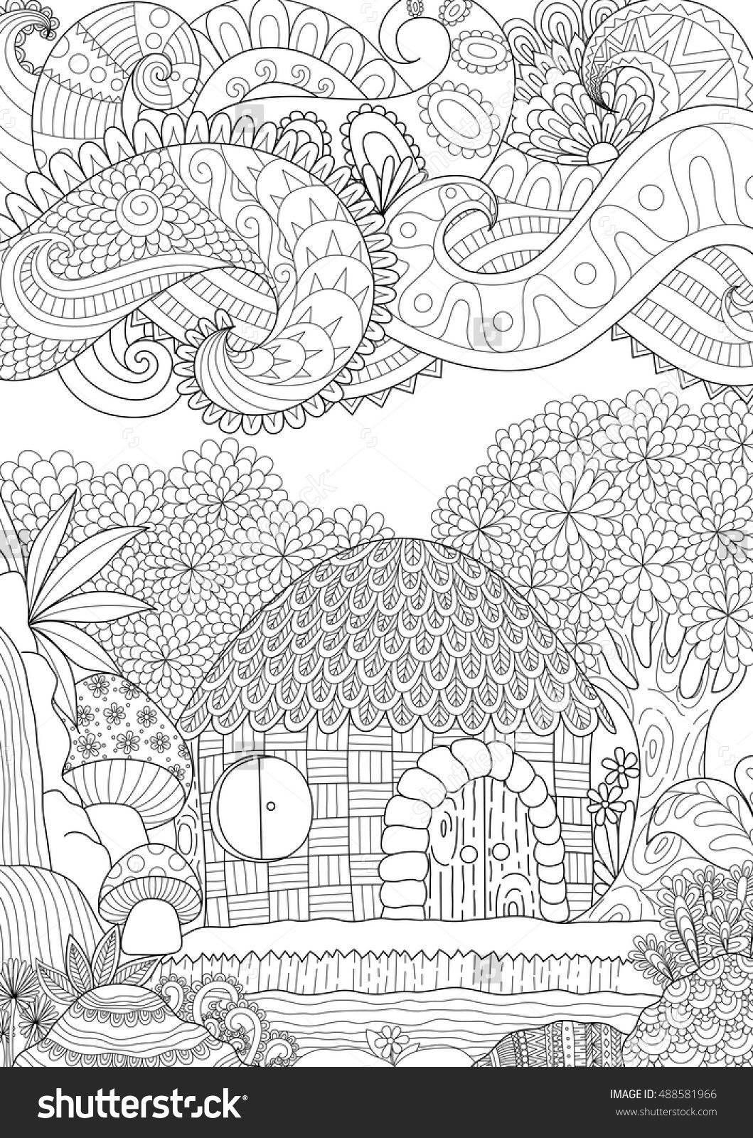 Zendoodle design of small hut in the forest with abstract clouds for ...