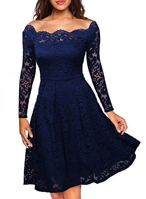 Missmay Women S Vintage Floral Lace Long Sleeve Boat Neck Cocktail Formal Swing Dress Navy Blue Sma Lace Party Dresses Party Dress Long Sleeve Long Sleeve Lace