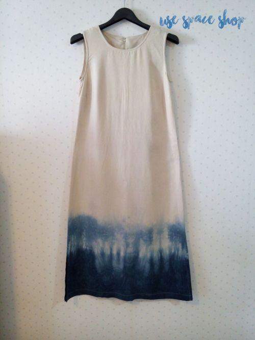 Dress for lady**01 เดรสแขนกุดงานย้อมมือ พื้นสีครีม ยาว  46 นิ้ว large image 0 by UseSpaceShops