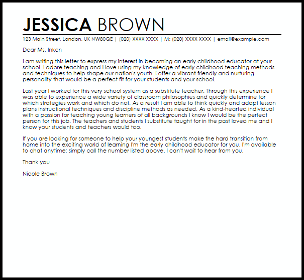 Cover Letter For Substitute Teacher | template | Cover ...