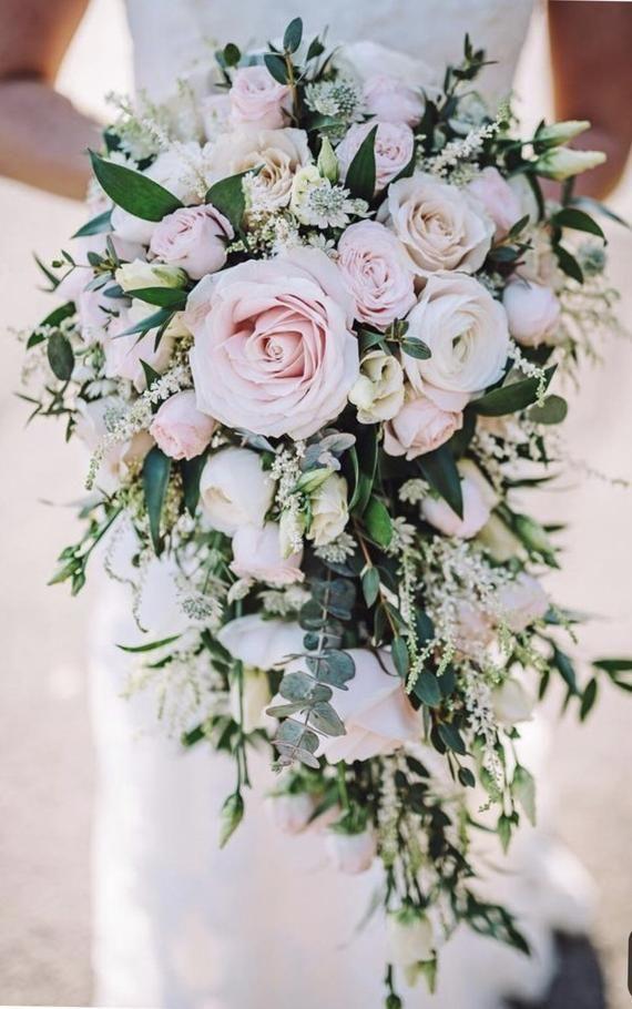 Cascading bridal bouquet, soft pink bride bouquet, brides bouquet, elegant brides bouquet, blush brides bouquet, ivory bouquet