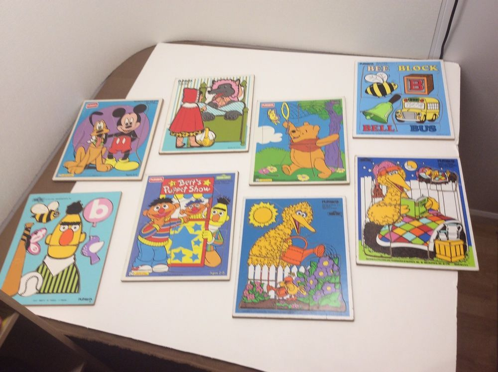 Lot 8 Vintage Kids Wooden Puzzles Playskool Mickey Mouse Pooh Sesame