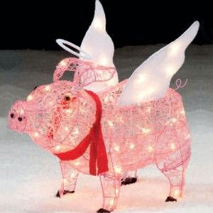 cute pink lighted wire pig for outdoor christmas decor