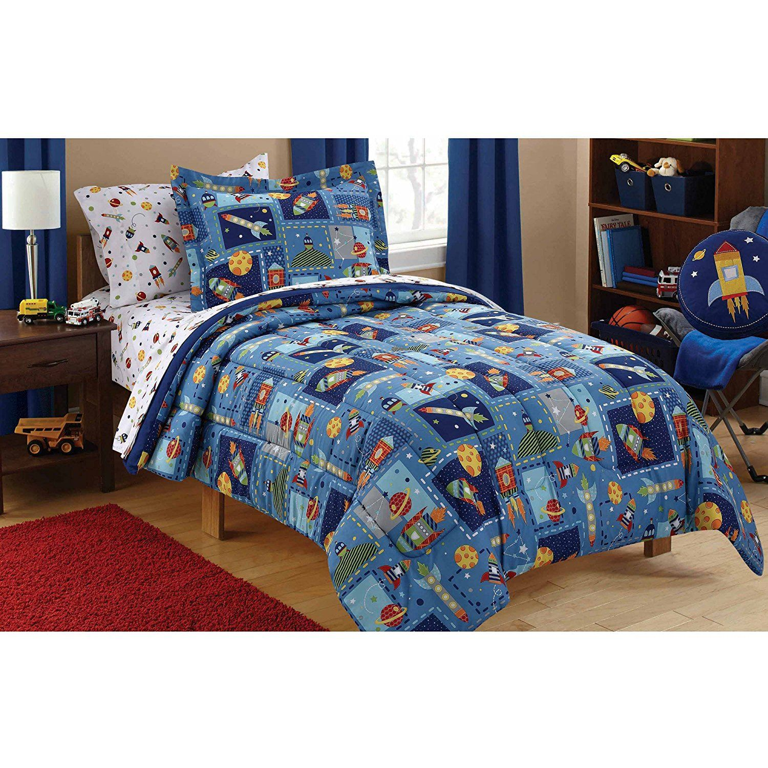 Mainstays Kids Space Bed in a Bag Bedding Set TWIN