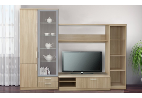 Moderne Wohnzimmerschränke ~ Anbauwand in weiß eiche dekor beleuchtung 5 teilig