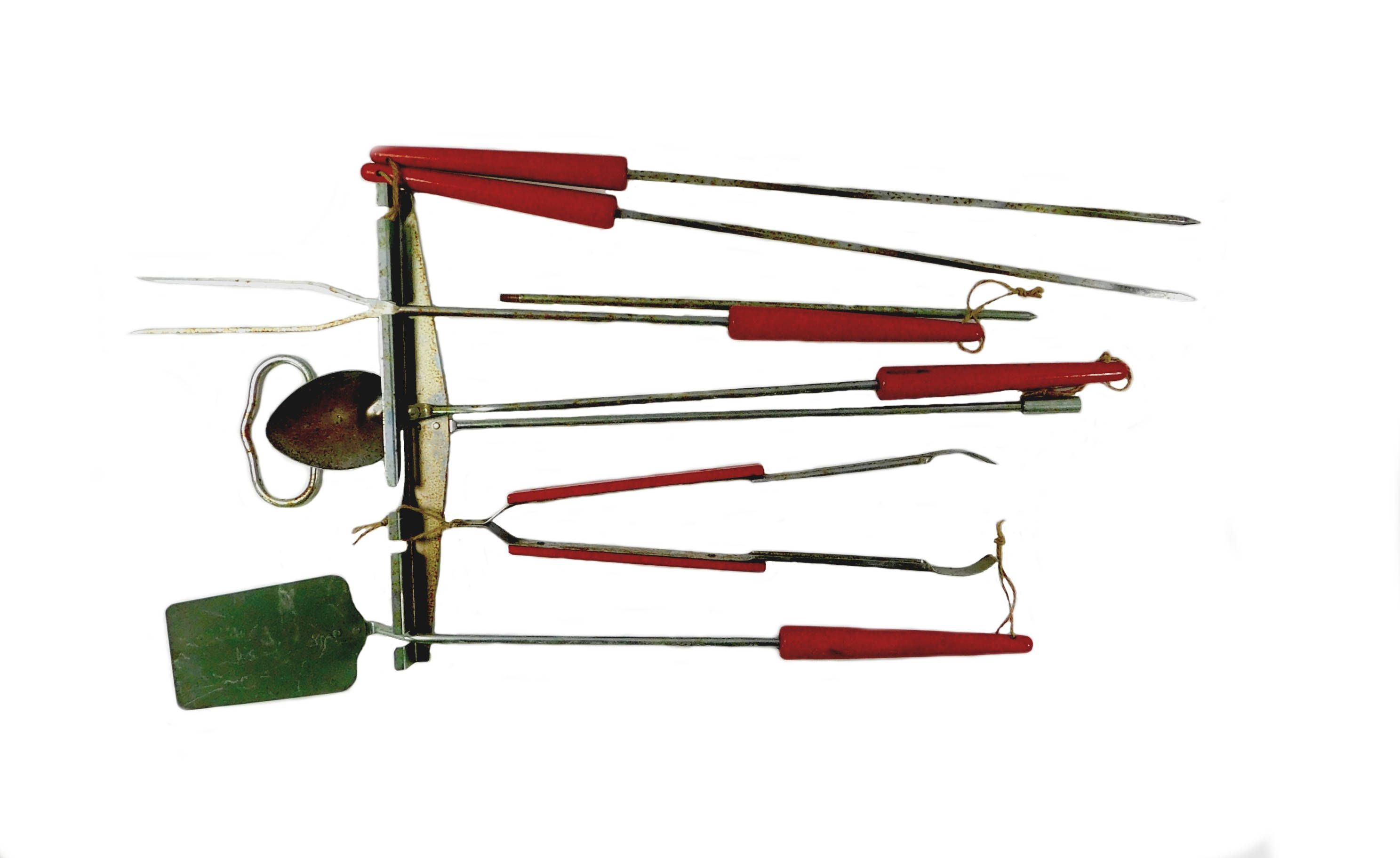 Vintage Outdoor Cooking Utensil Set Red Handled Barbecue