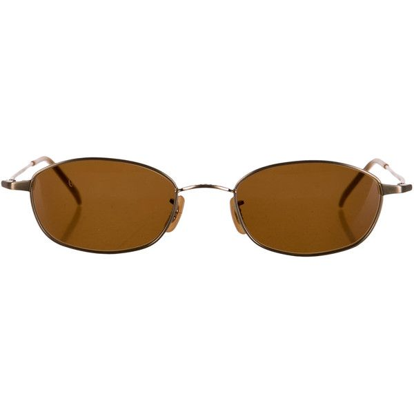 Oliver Peoples Tinted Lens Sunglasses ($50) ❤ liked on Polyvore featuring accessories, eyewear, sunglasses, brown, logo lens sunglasses, lens sunglasses, brown sunglasses, tinted sunglasses and oliver peoples