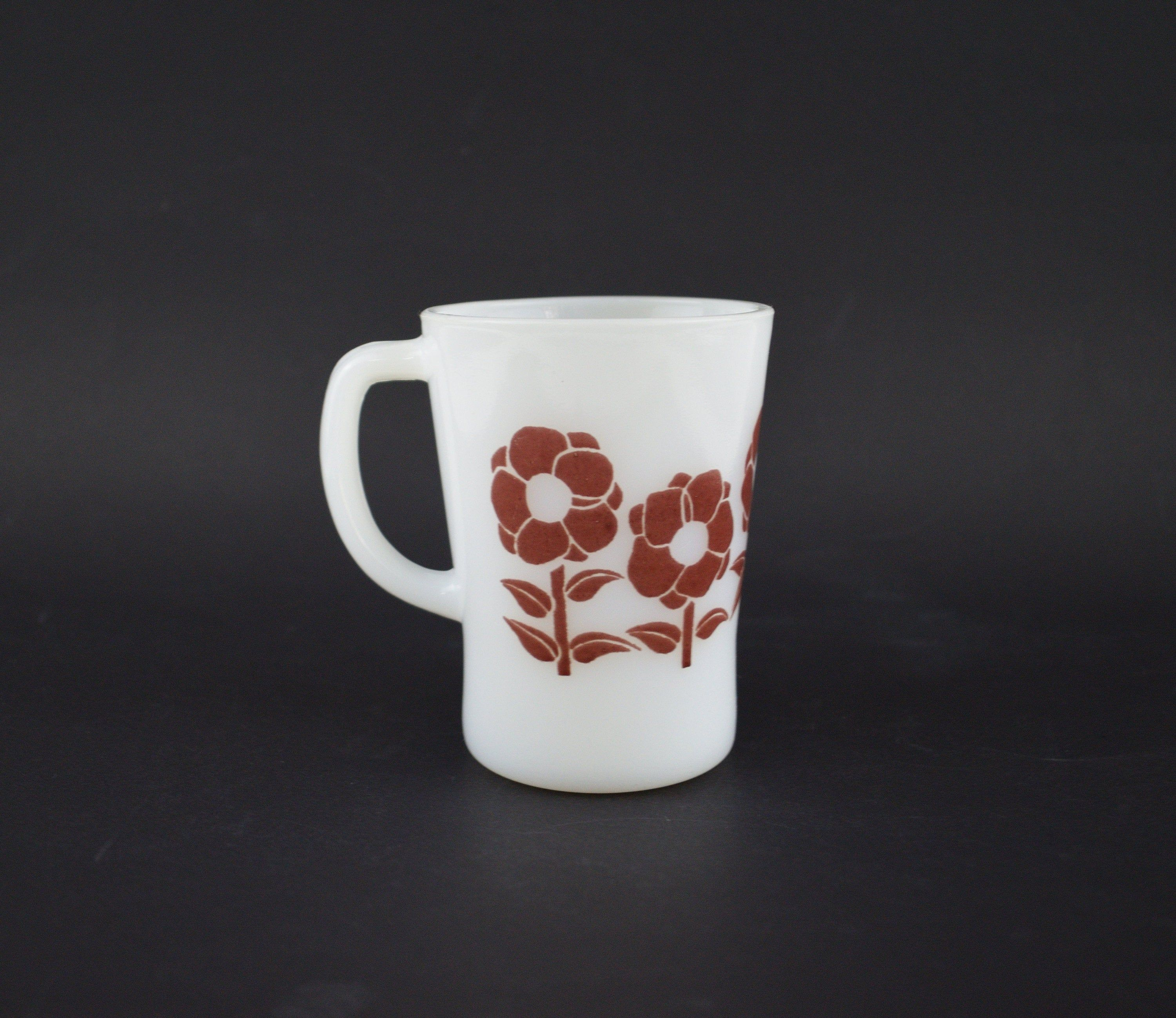 Agee Crown Pyrex Poppy Coffee Mug Vintage Flower Power
