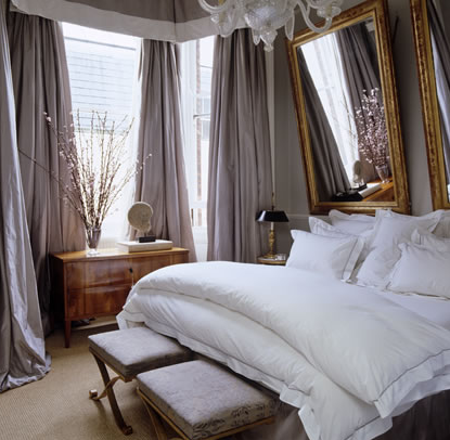Alex Papachristidis ~ love the white trim on drapes to match the luxurious linens in a London flat