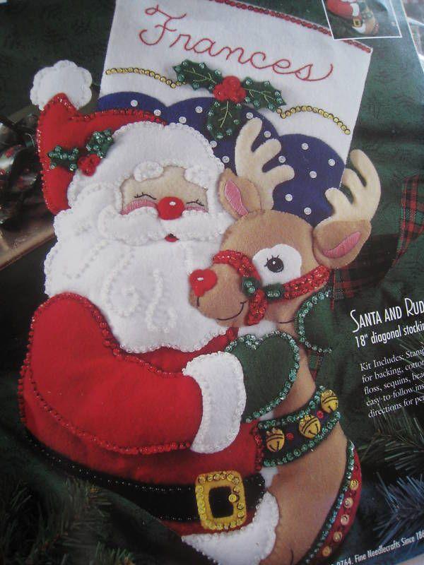 bucilla christmas holiday stocking felt applique kit santa rudolph 83388