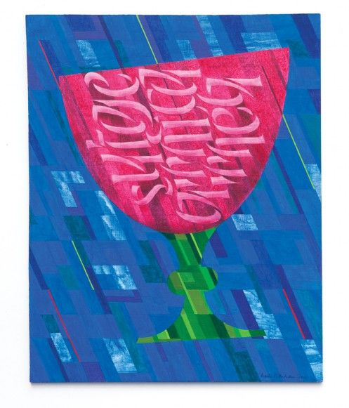 Chalice by Martin Wenham. Acrylic on board. Text from the Song of Songs (Latin Vulgate Bible).